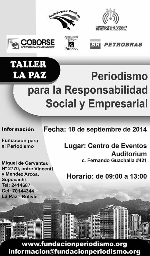 La Paz: Taller de Periodismo para la Responsabilidad Social y Empresarial