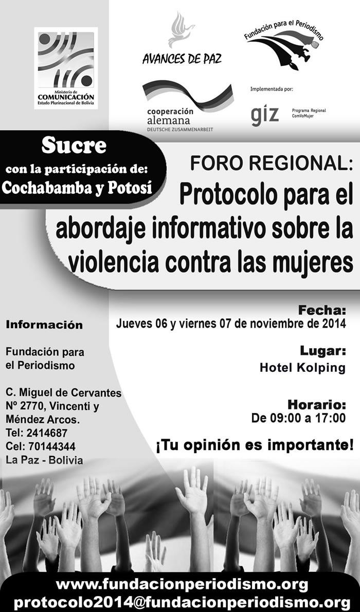 Foro Regional: Protocolo para el abordaje informativo sobre la violencia contra las mujeres