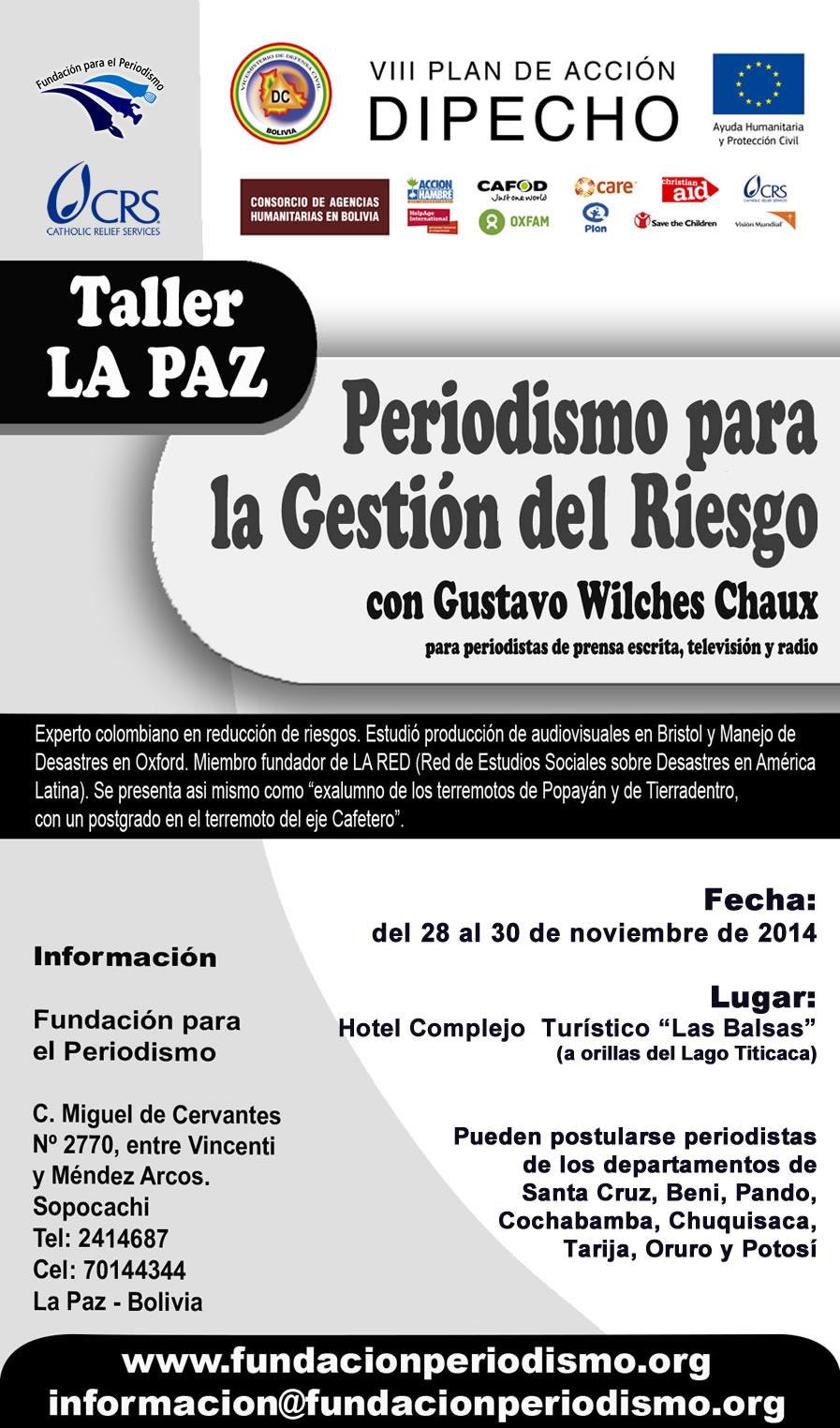 La Paz, Taller de Periodismo para la Gesti?n del Riesgo