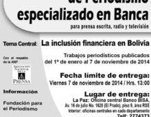 Banco BISA lanza XIII Concurso Nacional de Periodismo Especializado en Banca
