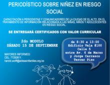 CHARLAS INFORMATIVAS DE TRATAMIENTO PERIODÍSTICO SOBRE NIÑEZ EN RIESGO SOCIAL